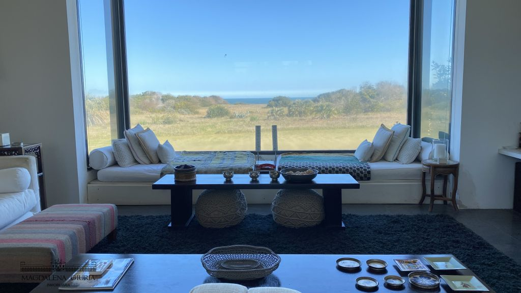 View of the countryside and the sea from inside the main house