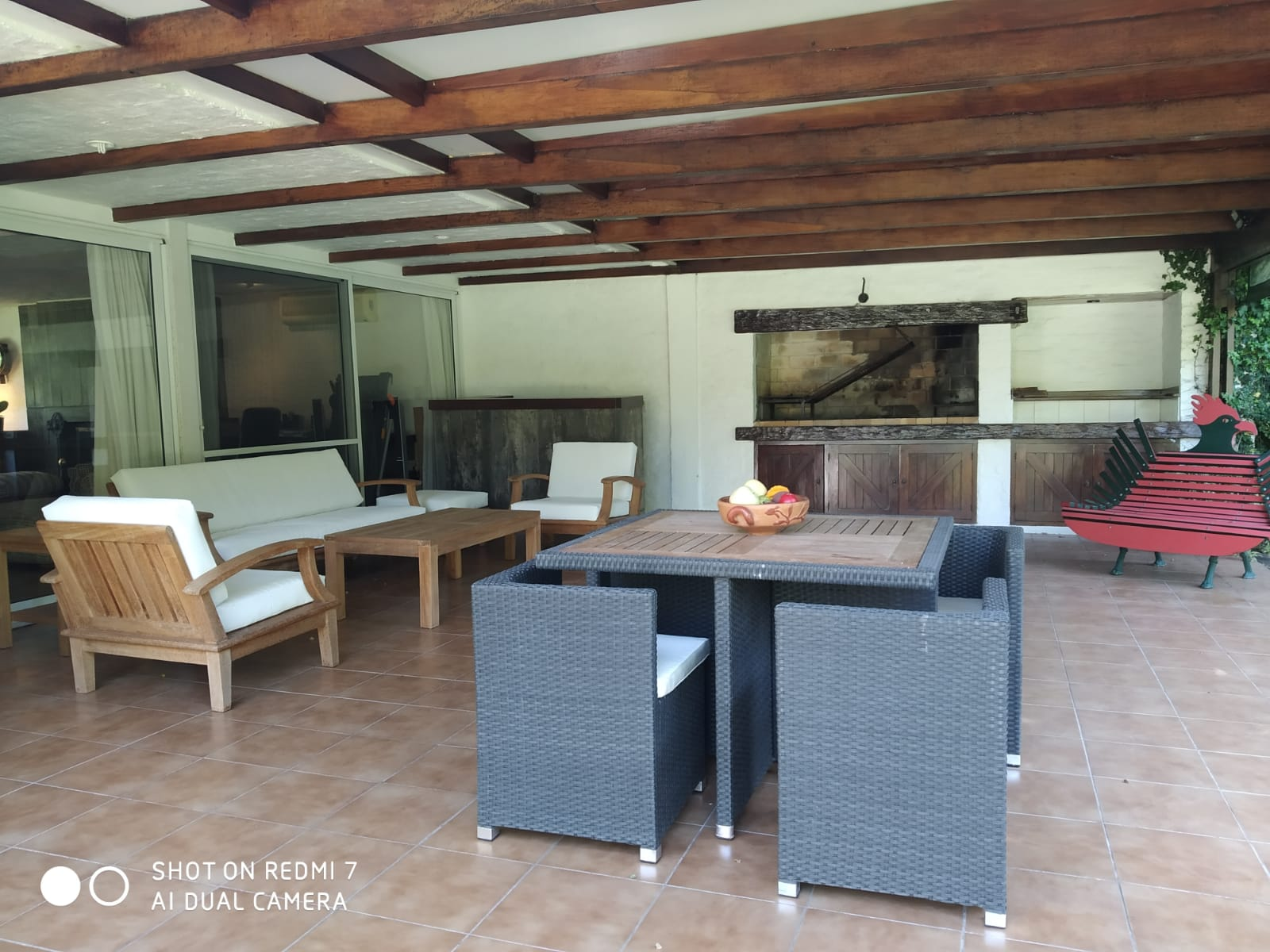 Spacious barbecue area, with barbecue and complete furniture